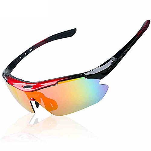 Dopobo Bike Bicycle Cycling Bicycling Wrap Running Outdoor Sports Sunglasses with Exchangeable 5 Lenses Unbreakable Polarized UV400 (red)