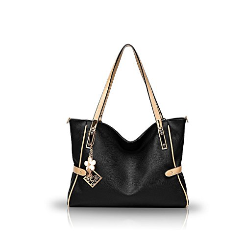 Fashion Women's PU Handle Tote Cross Bags Large amp;Doris Ladies Body Leather Handbags Black Top Shoulder Bags Bags Nicole Capacity Black Bags Shopping SwOC4xqC