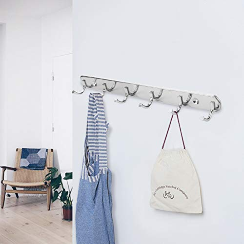 FDBZJP Coat Hooks for Wall Stainless Steel Coat Hooks Coat Rack Wall Mounted Heavy Duty Stainless Steel Coat Hook Rail for Coat Hat Towel Purse Robes with 6 Hanger Hooks