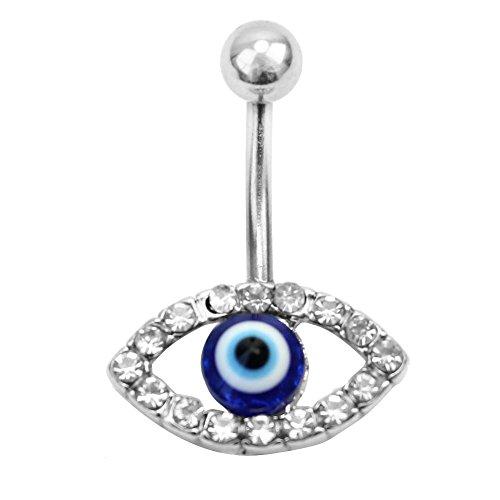 Evil Eye Dangle Belly Button Ring Rhinestone Crystal Body Piercing Jewelry