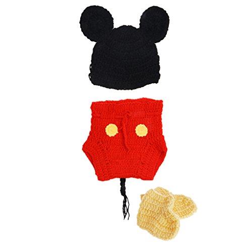 Mwergkou Newborn Photography Props Girls Boys Crochet Knit Costume, Photography Prop Outfits 3Pcs/set (Outfits Baby Mickey Knit)