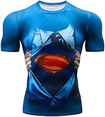 Camisa Comprimida Camiseta Superman Superhéroe Impresa En 3D Camiseta De Manga Corta para Hombre Juego De rol Masculino Hombre: Amazon.es: Ropa y accesorios
