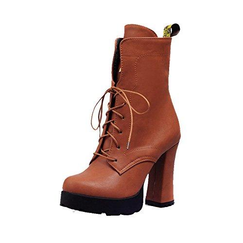 VogueZone009 Damen Hoher Absatz Weiches Material Rein Schnüren Stiefel mit Knoten, Braun, 40