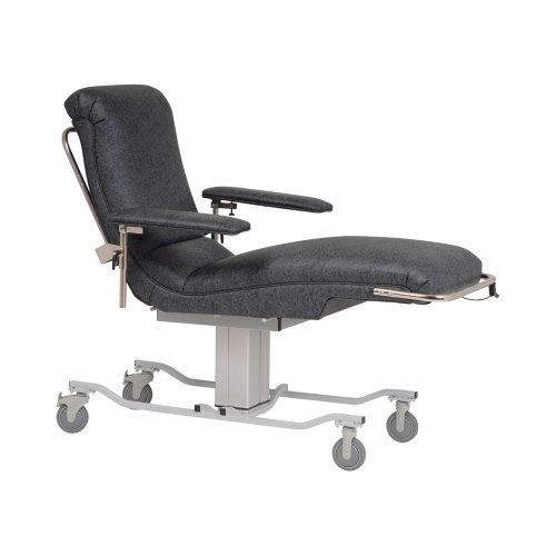 """TK Manufacturing Power Seat Height Adjustable 350 Lb Capacity Donor Bed, Treatment Lounge, Seat Adjusts From 32"""" To 40"""", Charcoal Grey Fully Upholstered Chair"""