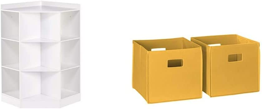 RiverRidge 02-144 6-Cubby, 3-Shelf Kids Corner Cabinet, White & RiverRidge Home 2 Pc Storage Set Folding Bin, Golden Yellow