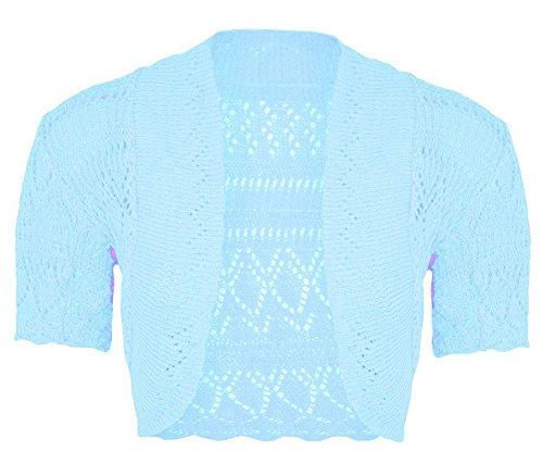 a Cardigan Le Bolero Cima manica spalle alzata Signore uncinetto Nuovo Aperto Crop maglia corto Janisramone Blu Cielo Donne di wXqxfXA