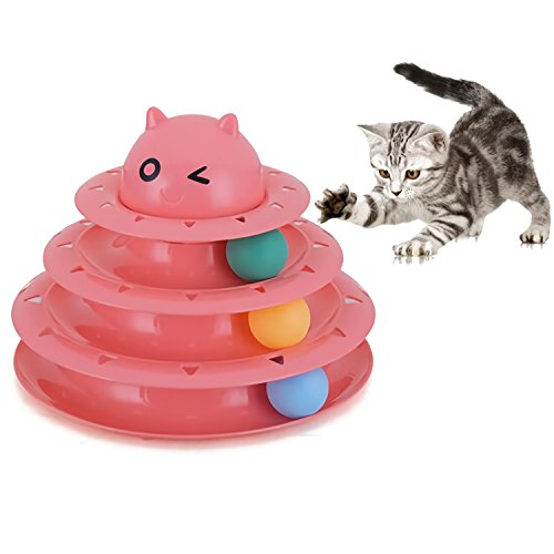 Cat & Kittens Toy with Interactive Intelligence Track Ball Tower - New Version with Safety Bar - Provides Hours of Mental Stimulation and Physical Play (Pink)