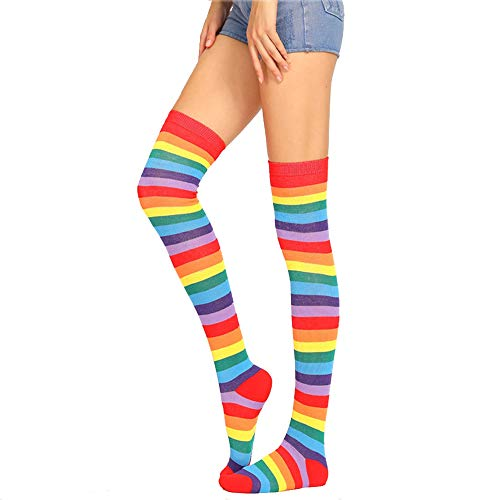 Womens Girls Long Striped Rainbow Over Knee Thigh High Socks Funny Crazy School Party Cosplay Custume Stockings, Classic Red Rainbow, Ladies' one size(6-11)