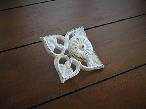 Motif Cast - Leaf Motif Cast Iron Knobs Antique White or Choose from 40+ Colors Cottage Chic Dresser Drawer Pulls Furniture Knobs Cabinet Door Pulls