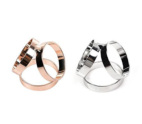 (ericotry 2PCS (Golden + Silver) Women Girls Fashion Scarf Clip Ring Buckle Scarf Slides Modern Simple Triple Slide Jewelry Silk Sarf Clasp Clips Clothing Ring Wrap Holder)