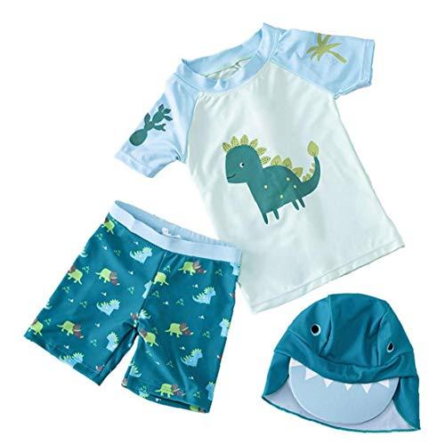 Yililay Boys Swimsuit pak kinderen zwemmen Pants Cap Dinosaur Printed Badpak Split korte mouw Wetsuit 3PCS Green XS