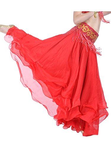 Danse dreischichtige chiffonrock tanzrock pour femme Rouge