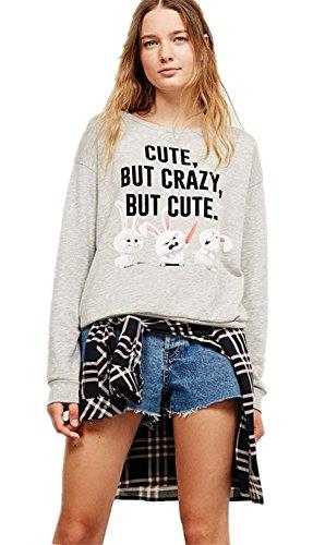 Hawaiian Crazy Shirts - Cartoon Rabbit Bunny Cute But Crazy Graphic Crewneck Sweatshirt T-Shirt Top Grey S