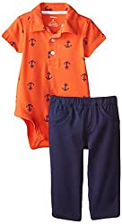 Carter's Baby Boys Nautical Polo Bodysuit & Pants Set (newborn, Navy/Boats)
