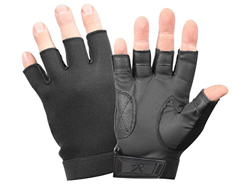 Rothco Fingerless Neoprene Duty Gloves, Black, (Black Fingerless Neoprene Gloves)