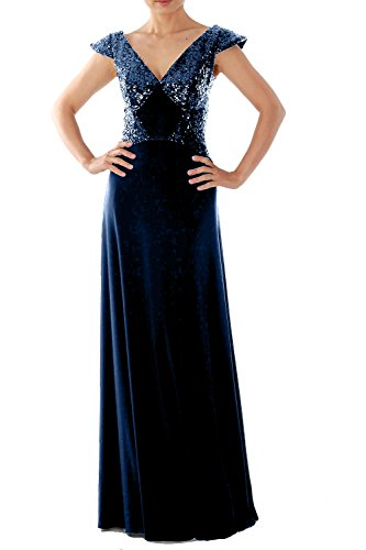 MACloth Women's Cap Sleeve Long Jersey Evening Formal Gown Prom Party Dress (26w, Dark Navy) (Plus Size 90s Fancy Dress)