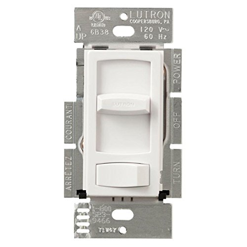600 Watt Max. - Incandescent Dimmer - Single Pole - Rocker and Slide Switch - White - 120 Volt - Lutron Skylark Contour CT-600P-WH (Watt 600 Pole Incandescent Single)