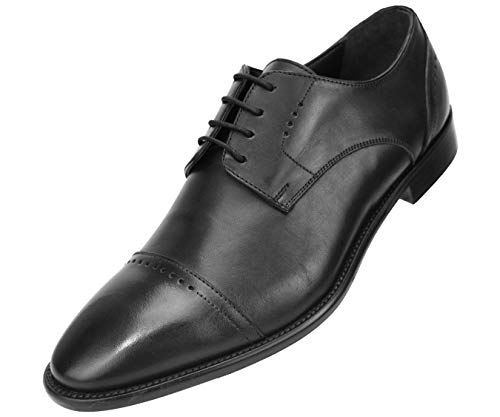 Black Italian Leather Wingtip - Asher Green Genuine Italian Leather Men's Dress Shoes with Perforated Cap Toe and Lace-Up Enclosure Style AG4732 Black