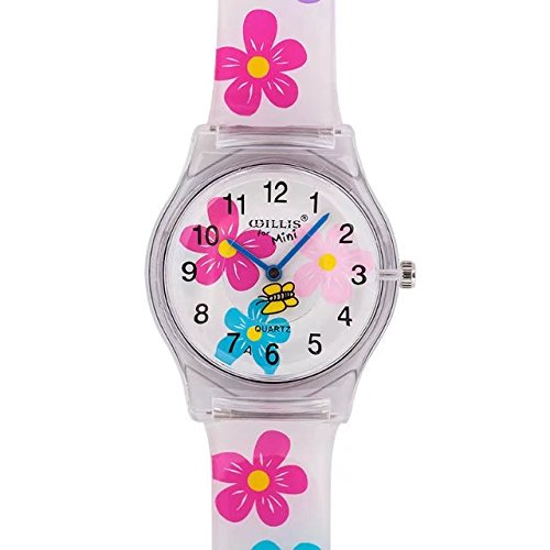 Transparent Flora Pink With Butterfly Sport Wrist Watch For Women Students Kids