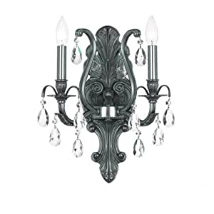 5563-PW-CL-MWP Dawson 2LT Wall Sconce, Pewter Finish with Clear Hand Cut Crystal