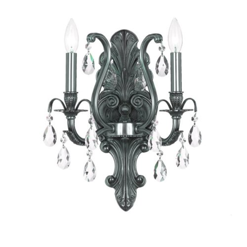 (Crystorama 5563-PW-CL-MWP Crystal Accents Two Light Bathroom Lights from Dawson collection in Pwt, Nckl, B/S, Slvr.finish, 7.50 inches)