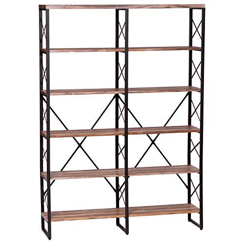 IRONCK Bookshelf, Double Wide 6-Tier 70