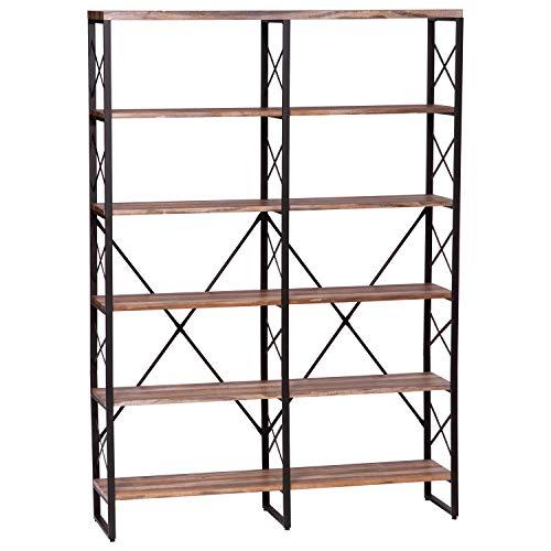 - IRONCK Bookshelf, Double Wide 6-Tier 70