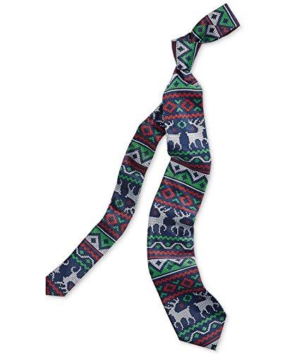 (Celebrate Shop Mens Fair Isle Pattern and Reindeer Christmas Neck Tie)
