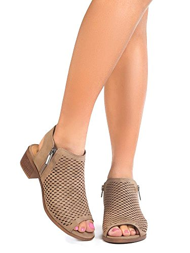 (J. Adams Comfortable Perforated Flat Bootie – Casual Open Toe Low Stacked Heel - Cut Out Side Zipper Shoe - Tracy)