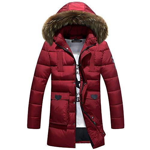 Uomo Spesso Bozevon Inverno Piumino Cotone Di Rosso Da Fit Lungo Slim In Cappotto HCqICRS