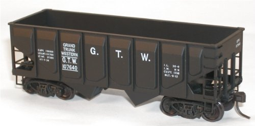 Ho Scale Grand Trunk - 55-Ton Panel-Side Two-Bay Hopper - Kit (Plastic) -- Grand Trunk Western #107840 (black)