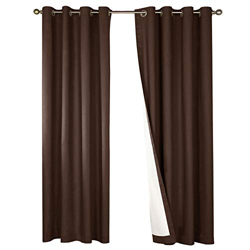 Blackout Lined Curtains - jinchan Thermal Insulated Blackout Curtain Room Darkening Lined Bedroom Drapes Brown Window Treatment Set 84 Inch Long Curtains Grommet Top One Panel