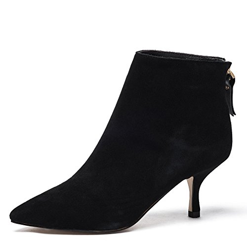 Darco & Gianni Women's Leather Ankle Boots Sexy Pointed Toe Kitten-Heel Zip Shoes Big Size (11, Black Suede) by Darco & Gianni