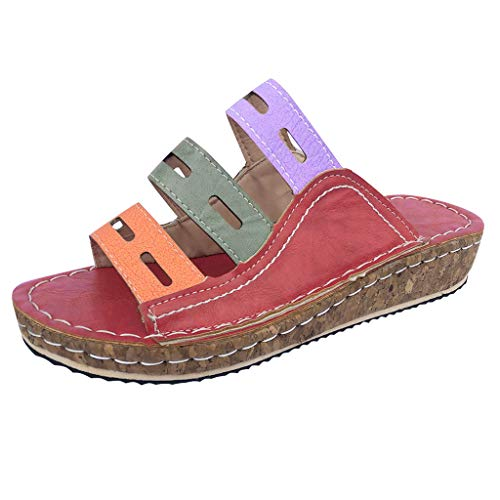 - Wedge Slides Sandals,ONLY TOP Women Strappy Leather Sandals Platform Slides Open Toe Slippers Summer Slip On Shoes