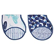 Aden + Anais Classic Burpy Bib, 100% Cotton Muslin, Soft Absorbent 4 Layers, Multi-Use Burp Cloth and Bib, 22.5  X 11 , 2 Pack, Seafaring, Whales