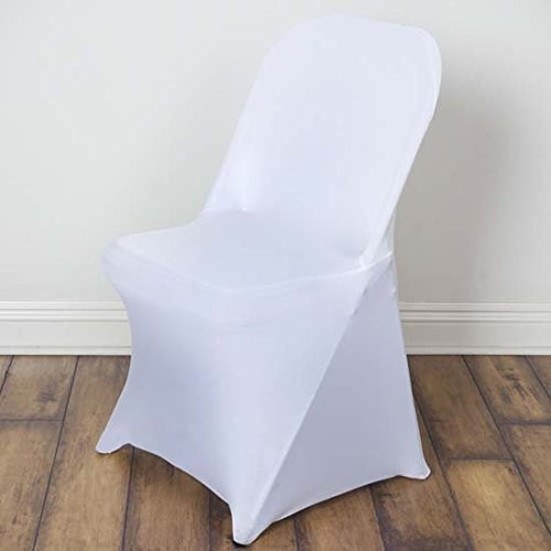 Efavormart 10PCS Stretchy Spandex Fitted Folding Chair Cover Dinning Event Slipcover for Wedding Party Banquet Catering - White