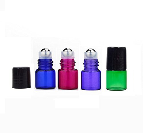 20 Packs DIY Mini Tiny Mixed Color Glass Rollerball Bottles Essential Oil Roller Bottles Empty Travel Refillable Aromatherapy Perfume Lip Balm Roll On Bootles Jars Color Randomly (1ml)