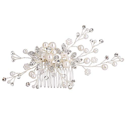 Stylebar Women Wedding Hair Comb Handmade Bendable Clear Crystal Ivory Color Simulatd Pearl Leaf Vine Filigree Flower Bridal Hair Accessories for Bride
