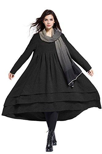 Anysize Jacquard Soft Linen&Cotton Dress Spring Winter Plus Size Dress Y312 by Anysize