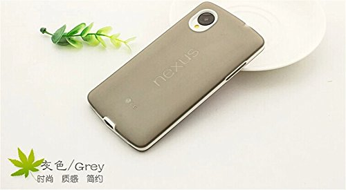 DAYJOY Amazing Design Candy Color Soft TPU Shockproof Protective Bumper case Cover Shell Shield + 1PC tempered glass screen protector film for NEXUS 5 NEXUS5(GREY)
