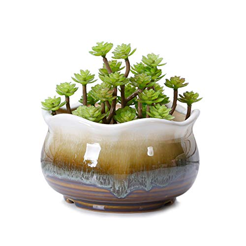VanEnjoy Large Ceramic Succulent Pot, Multicolor Colorful Flowing Glazed, Indoor Home Décor Cactus Flower Bonsai Pot Planter Container, Candle Holder Ring Bowl (Brown - Pots Painted Plant