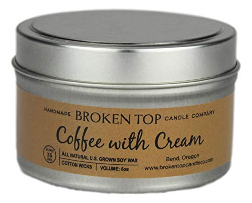 Coffee with Cream 100% U.S. Grown Soy Wax Highly Scented Candle 6 oz. Metal Travel Tin with Lid