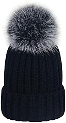 MISI US Winter Womens Girls Knitted Fur Hat Real Large Silver Fox Fur Pom  Pom Knit Beanie Hats Cap Hat Fox Fur Ball Pom Pom Cap Faux Fur Pom Pom  Beanie ... 43a1929be26a