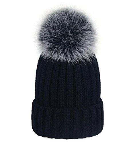 e233ec80ba8 MISI US Winter Womens Girls Knitted Fur Hat Real Large Silver Fox Fur Pom  Pom Knit ...