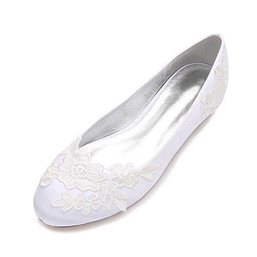 Court Hochzeitsschuhe YC Toe L Geschlossene Kleid 16 Klassisches Kappe F5049 Damen Schuhe Blumen Runde White dvzzEq