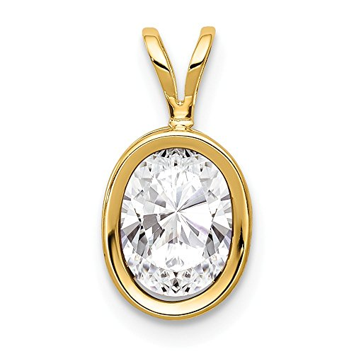 14k Yellow Gold 8x6mm Oval Cubic Zirconia Bezel Pendant Charm Necklace Gemstone Fine Jewelry Gifts For Women For Her