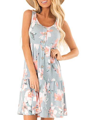 (HOTAPEI Summer Casual Beach Sun Dresses for Women Floral Printed Sleeveless Button Up Mini Short Tank Tunic Swing Ruffle T Shirt Dress Sun Dresses Gray US 4 6)