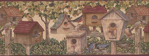 Wallpaper Border Brown Green Bird Houses 9
