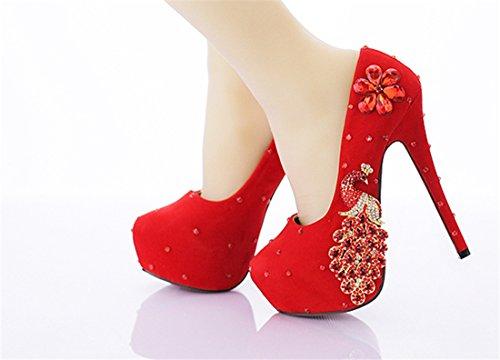 Miyoopark , Semelle compensée femme - Rouge - Red-14cm Heel, 35 EU