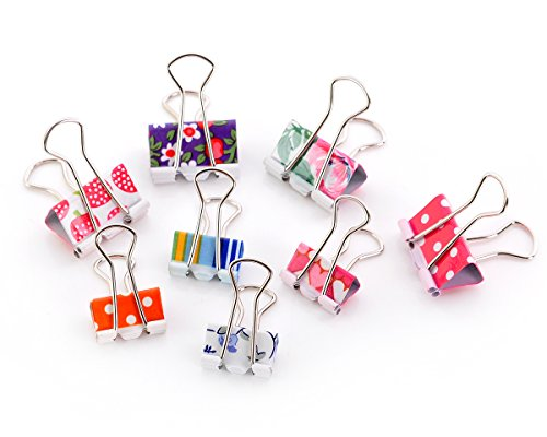 ps 48 Pcs Binder Clips Assorted Colors Foldback Clips for School and Office ()